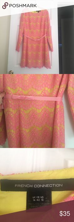 "French Connection lace dress size 10 Bright and colorful! Neon yellow long sleeve French Connection dress with bright pink lace overlay. Long sleeves and velvet pink bow belt is detachable. I wore this only once and received many compliments on it. I am 5'8"" and it hit me just above knees. In perfect condition!! Super cute for a summer wedding with heels and a clutch. French Connection Dresses Wedding"