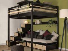 lit en mezzanine pour petits espaces avec banquette et escalier aux rangements intégrés #MadeinFrance #personnalisable