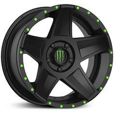 Monster Energy 648B Wheels & Rims Satin Black w/ Green Cap & Matching Green Bolts