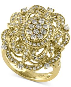A round-cut diamond-encrusted filigree pattern gives this gorgeous ring (1 ct. t.w.) by Effy an old-world Victorian feel. Set in 14k Gold. | 1 Carat Diamond Ring | Diamond Color Rating Code: H-I | Dia
