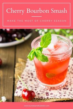 Love a fresh cherry cocktail? Fresh cherries and bourbon come together to make the most delicious and easy summer cocktail. This cherry bourbon smash will quickly become your new favorite bourbon cocktail. #cherrybourbonsmash #summercocktailrecipes #cherrybourboncocktail #summercocktails #bourbonsmash #bourbonsmashcocktailrecipes #cherrycocktails Easy Summer Cocktails, Healthy Cocktails, Fruity Drinks, Alcoholic Beverages, Cold Drinks, Bourbon Cocktails, Dinner Party Recipes, Cocktail Recipes, Drink Recipes