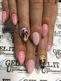 Nails, nail art, nail design, palm nails, pink nails, summer nails