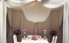 White Sheer Canopy Head Table Decor  www.tradesensation.com