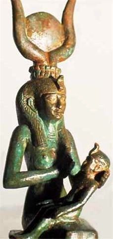 Egyptian goddess Isis breastfeeding Horus.