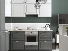 There is no question that designing a new kitchen layout for a large kitchen is much easier than for a small kitchen. Ikea Interior, Kitchen Interior, Kitchen Design, Kitchen Decor, Small White Kitchens, Cool Kitchens, Ikea Cupboards, Kitchen Cabinets, Green Kitchen