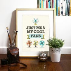 Art Poster Mid century design inspired Fans - Cool Typography and illustration Print  -  Mid century Fans - A3 poster size - vintage retro. $23.00, via Etsy.