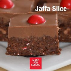 RECIPE: Jaffa Slice 1 packet of Jaffas 1 cup smashed 4 Mars Bars x bars) cup Condensed Milk 1 pack of Chocolate Ripple Biscuits 2 blocks of Cadbury Milk Chocolate unsalted butter 1 teaspoon vegetable oil Sweet Desserts, No Bake Desserts, Sweet Recipes, Dessert Recipes, Dessert Bars, Yummy Treats, Sweet Treats, Yummy Food, Red Nose Day Cakes