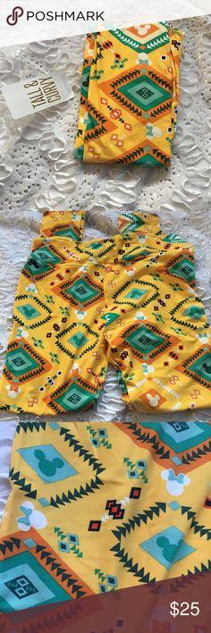 Yellow Aztec Minnie Mouse tc legging NWT NWT yellow Minnie Mouse Aztec legging LuLa Roe tc LuLaRoe Pants Leggings