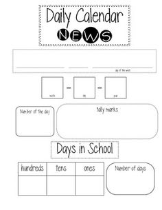 Here's a form to use in calendar notebooks or during calendar time.