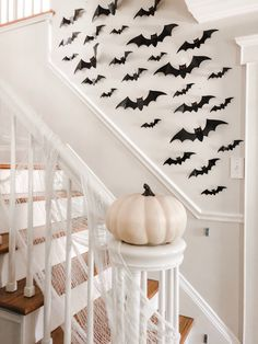 how to decorate your staircase for Halloween - spooky fabric on the banister, cardstock paper bats on the wall, and a faux pumpkin Easy Halloween Decorations, Halloween Home Decor, Halloween House, Halloween Costumes For Kids, Fall Halloween, Halloween Ideas, Halloween 2020, Holiday Decorations, Halloween Party