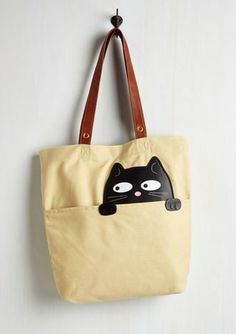 Got One Friend in My Pocket Tote in Black Cat. Keep your favorite critter pal nearby with this canvas tote bag. Cat Applique, Beige Purses, Cat Bag, Cat Purse, Vintage Bags, Retro Vintage, Tote Backpack, My Pocket, Cat Gifts