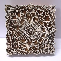 INDIAN WOODEN HAND CARVED TEXTILE PRINTING ON FABRIC BLOCK / STAMP UNIQUE CARVING FINE DESIGN PATTERN. VERY FINE DETAILED WORK IS DONE. NICE COLLECTIBLE ITEM. | eBay!