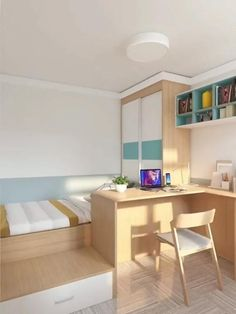 Small Room Design Bedroom, Small House Interior Design, Room Ideas Bedroom, Home Room Design, Bedroom Ideas For Small Rooms, Small Teen Room, Study Room Decor, Kids Bedroom Designs, Loft Design