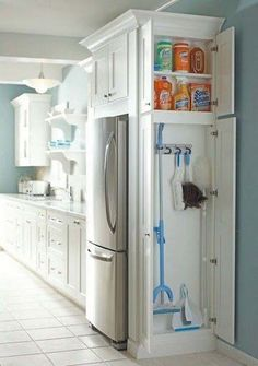 Install a small closet in the kitchen to store cleaning supplies - 37 Home Improvement Ideas Kitchen Ikea, Kitchen And Bath, Kitchen Small, Hidden Kitchen, Kitchen Cleaning, Smart Kitchen, Awesome Kitchen, Narrow Kitchen, Cleaning Closet