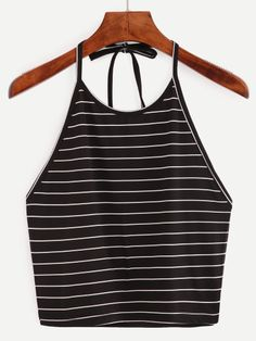 To find out about the Halter Striped Crop Top at SHEIN, part of our latest Tank Tops & Camis ready to shop online today! Halter Tops, Chiffon Cami Tops, Striped Cami Tops, Cami Crop Top, Halter Neck, Stripe Top, Striped Tank, Cropped Tops, Cute Crop Tops