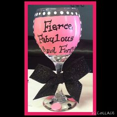Forty and Fabulous painted wine glass birthday gifts for women birthday glass 40th Bday Ideas, 40th Birthday Gifts For Women, Birthday Ideas For Her, Fabulous Birthday, 40th Birthday Parties, Birthday Treats, Birthday Photos, Husband Birthday, Birthday Woman