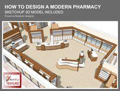 How to design a modern pharmacy model included Rosanna Mataloni… Shop Shelving, Sketchup Model, Cosmetic Shop, Clinic Design, Bureau Design, Store Fronts, Retail Design, Store Design, Pharmacy