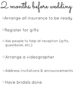 9 Month Wedding Checklists See More December Week 1 Insurance Register 2 Gift Guest Book Table