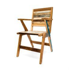 Silla en madera reciclada de teca. Decoración Low Cost Chicandclic