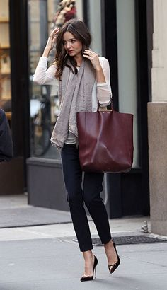 Miranda Kerr in #Chic dark earthy winter #fashion #style