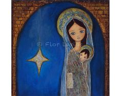 Mary with Baby Jesus  Folk Art  PRINT from Painting by FlorLarios, $15.00
