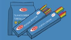 LGBT Pasta   Illustrator Nicholas Blechman visited Barilla Pasta's factory in Parma to check out its best-selling Spaghetti No. 5. There he admired the designs of Erberto Carboni, learned that the discarded pasta is fed to animals, and took notice of workers getting around the plant by bike