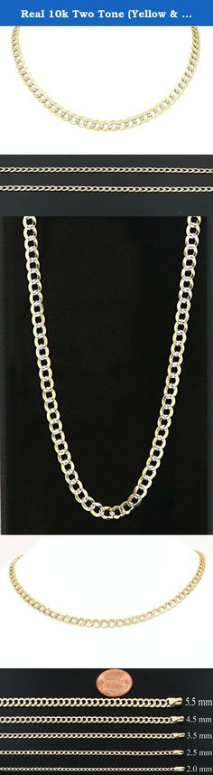 """Real 10k Two Tone (Yellow & White Gold) Hollow Cuban Chain 16"""" to 24"""", 2.0mm (18). Guaranteed Real 10K Two Tone (Yellow & White Gold) Hollow Cuban Chain (not gold platted or gold filled) now available on best possible discounted price with FREE SHIPPING (in USA only) & FREE GIFT BOX."""