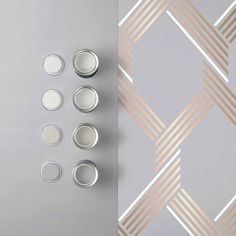 Marrying contemporary grey matt backdrop with metallic of the moment rose gold, Vector Rose Gold is a clean, crisp geometric. Shop Now Graham & Brown Grey And Gold Wallpaper, Graham Brown, Backdrops, Contemporary, Metal, Silver, Room Ideas, Rooms, Living Room
