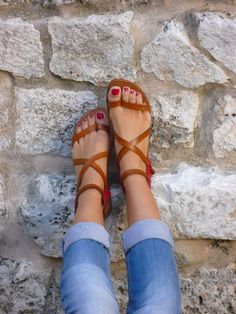 Gladiator Sandals. Simple and go with everything from jeans to dresses and skirts.