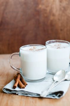 Steamed milk with almond and cinnamon!