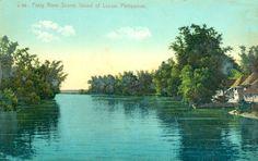 Colorized Postcard: A beautiful view along the Pasig River outside Manila.