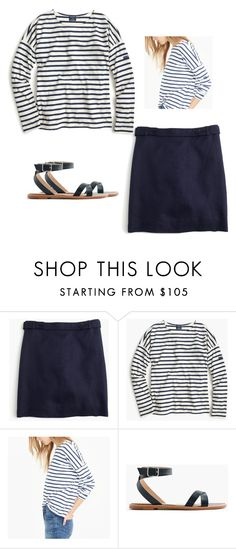 """""""Saint James For J.Crew Slouchy T-Shirt JCrew MINI SKIRT IN BONDED LINEN"""" by justvisiting ❤ liked on Polyvore featuring J.Crew and Saint James"""