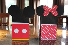 Handmade Minnie and Mickey Mouse goodie bags!