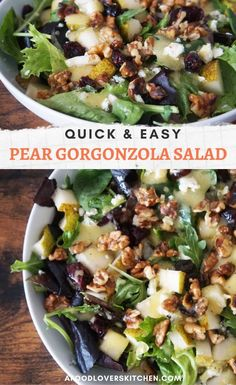 This Pear and Gorgonzola Salad mixes the fresh, sweetness of pear with the tangy, sharpness of gorgonzola – a classic pairing. Best Salad Recipes, Salad Dressing Recipes, Vegetarian Recipes, Cooking Recipes, Healthy Recipes, Vegetarian Salad, Savory Salads, Easy Salads, Summer Salads