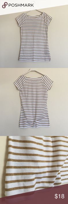 Ralph Lauren gold and white striped knit tee small New with tags. Super cute with boat neck and short sleeves. Bundle to save 25%! Ralph Lauren Tops Tees - Short Sleeve