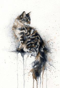 *Watercolor - Cat by Braden Duncan - Art / Artwork