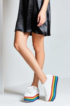 Obsessed with these rainbow platform sneakers.