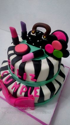 Torta animal print y cosméticos  Makenachocolates@hotmail.com  Tel 4563355 Whatsapp 3017323283