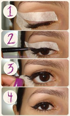 Creating the Perfect Cat Eye Wing Using Tape Makeup Mania eye makeup using tape - Eye Makeup Winged Eyeliner With Tape, Eyeliner Tape, Tape Makeup, Winged Eyeliner Tutorial, Cat Eyeliner, How To Apply Eyeliner, Winged Liner, Makeup Tips, Emo Makeup