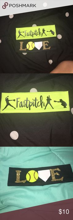 "2 cute Softball headbands  These two softball headbands are very cute! The ""Love"" headband is really nice and the left stitch is coming off but I can fix it , you can barley tell but I will still fix it for you!  The ""fastpitch"" headband is neon yellow and has a pitcher the fastpitch then a batter and a catcher! It is very unique and they both are in great condition never worn at all!!! ❤️ (10$ for both) Accessories Hair Accessories"