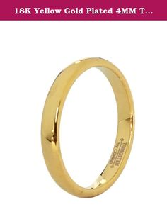 18K Yellow Gold Plated 4MM Tungsten Carbide Domed Center Wedding Band Ring by Cohro CJTU435GPH-10. With Just One Glance At The Beauty Of Our 18K Yellow Gold Plated 4MM Tungsten Carbide Domed Center Wedding Band Ring by Cohro You'll See It Is An Incredibly Eye Catching Piece. The Brightness, Color And Pattern Of This Ring Captures The Truest Radiance Of The Integration of High Polished Tungsten Carbide and The Original Inlay designed by Cohro (USA). Tungsten Carbide High Polished rings are...