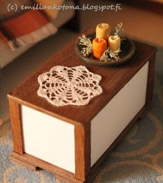 Candles and Doily - Dollhouse Miniatures