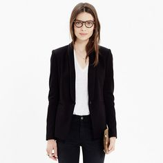 A lean, tomboy take on a traditional dinner jacket, in a new heavy twill with a bit of stretch. Sleek and simple enough to wear over tees and dresses alike. (Size up for the cool boxy fit we love.)