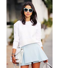 @Who What Wear - Annabelle Fleur of Viva Luxury  On Fleur: Finders Keepers sweatshirt; Cameo skirt; Loeffler Randall bag