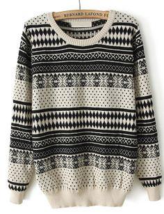 Black Long Sleeve Snowflake Polka Dot Sweater - Sheinside.com