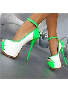 Remarkable Contrast Color Coppy Leather Peep-Toe Heels