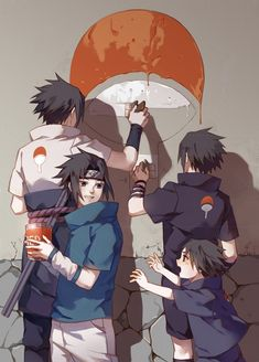 Different aged Sasuke trying to restore the Uchiha clan symbol. Feels.