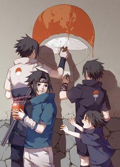 Different aged Sasuke trying to restore the Uchiha clan symbol. Feels.
