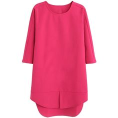Hot Pink 3/4 Sleeve Front Slit Dipped Hem Shift Dress ($27) ❤ liked on Polyvore featuring dresses, mullet dress, three quarter sleeve shift dress, shift dress, short front long back dress and hi lo dresses