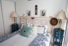 53 DIY, Repurposed and Upcycled Headboard Ideas | HGTV Picture Frame Headboard, Old Headboard, Headboard With Lights, How To Make Headboard, Modern Headboard, Diy Headboards, Headboard Ideas, Bedroom Decor, Condo Bedroom